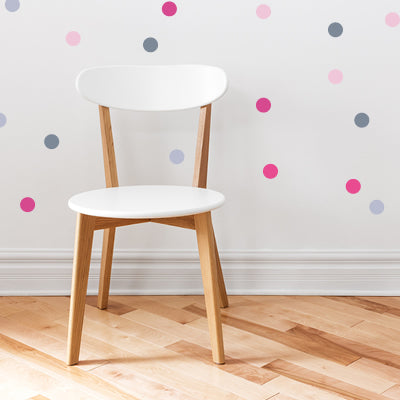 Multi color polka dot wall decals.
