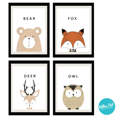Fuzzy Friends Hand Drawn Animal Wall Decals