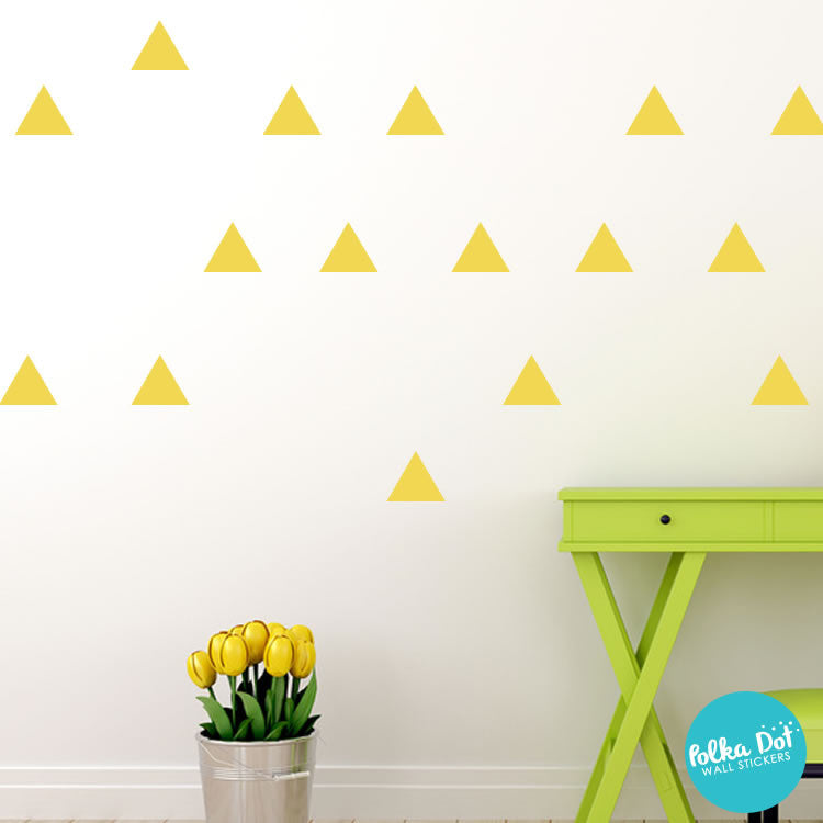 Triangle Wall Decals Easy To Apply Wall Decals  Polka Dot Wall - Yellow wall decals