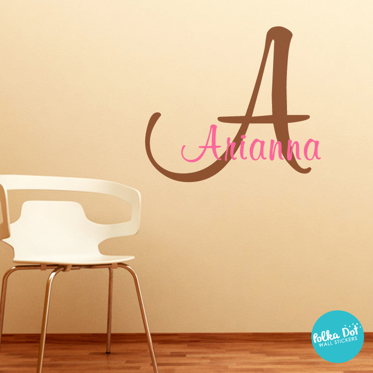 Monogram Wall Decals Polka Dot Wall Stickers - Coral monogram wall decal