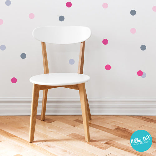 ... Pink And Gray Polka Dot Wall Stickers ...