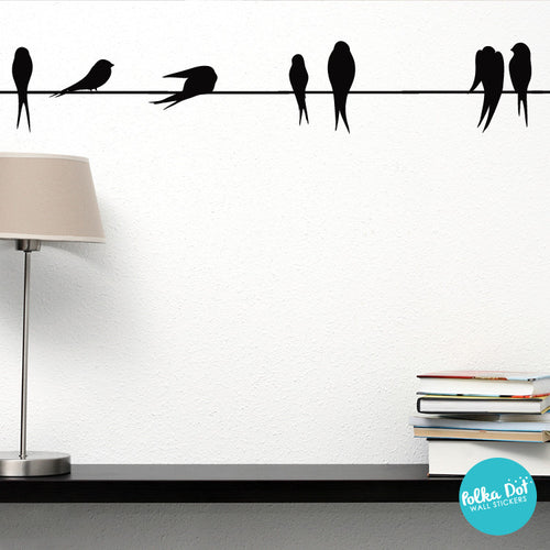 Birds On A Wire Wall Decal Peel And Stick Polka Dot Wall Stickers - Wall decals birds
