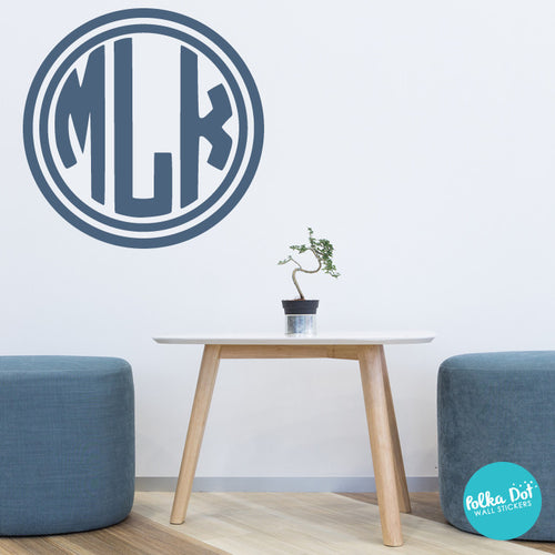 ... 3 Letter Circle Monogram Wall Decal ...
