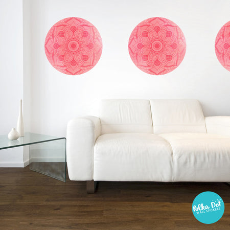 Coral Mandala Polka Dot Wall Decals