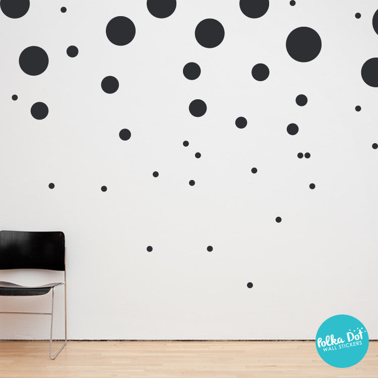 80 Assorted Size Polka Dot Wall Decals by Polka Dot Wall Stickers