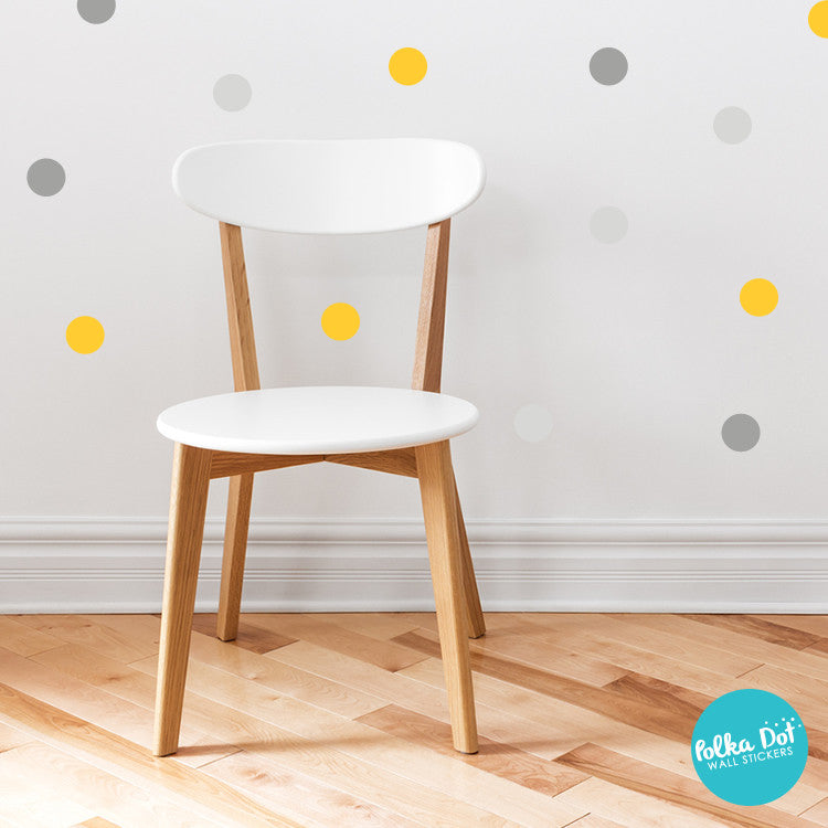 Yellow and Gray Polka Dot Wall Decals