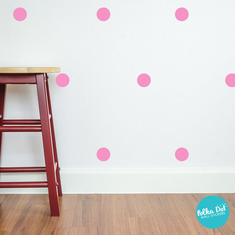 Bubble Gum Pink Polka Dot Wall Decals