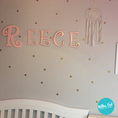 1 inch gold polka dot wall decals.