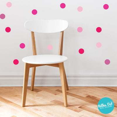 Shades of Pink Polka Dot Wall Decals