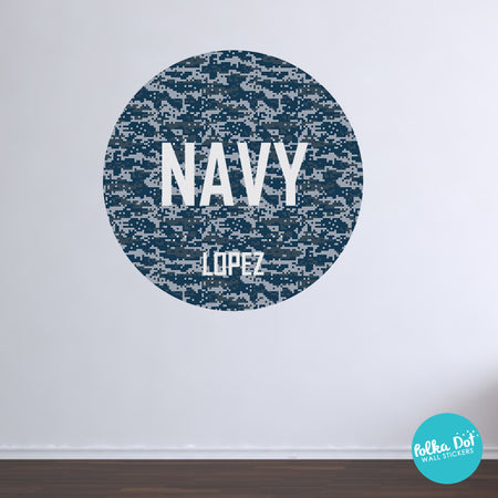 Navy Style Blue Digi Camo Monogram Wall Decal