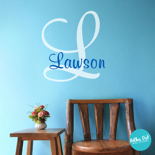 ... Monogram Wall Decal; Large letter with name wall decal. & Ariu0027s Script Monogram Wall Decal u2013 Polka Dot Wall Stickers