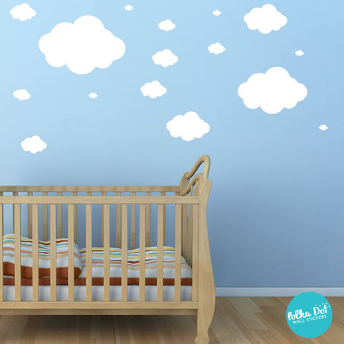 Puff Cloud Wall Decals Peel And Stick Polka Dot Wall