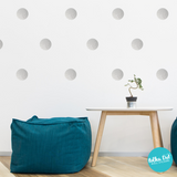 Metallic Silver Polka Dot Wall Decals