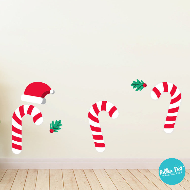 Peel and Stick Candy Cane Wall Decals
