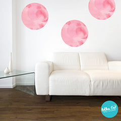 Soft Pink Watercolor Polka Dot Wall Decals