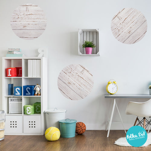 Painted White Distressed Wood Polka Dot Wall Stickers
