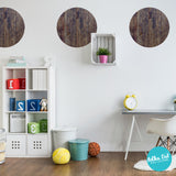Distressed Dark Wood Polka Dot Wall Stickers