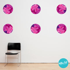 Pink and Purple Watercolor Polka Dot Wall Decals