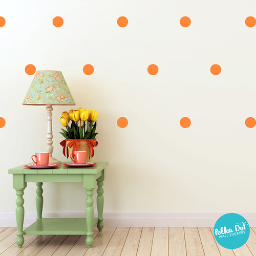 bright orange polka dot wall decals peel and stick polka dot wall stickers. Black Bedroom Furniture Sets. Home Design Ideas
