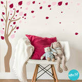 Long Tree Wall Decal with Leaves