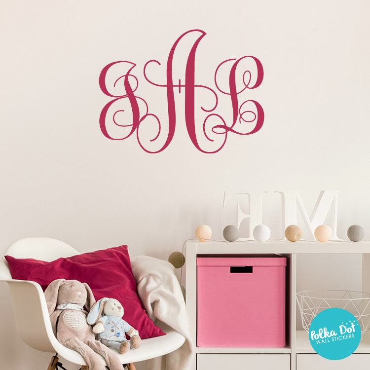 Monogram Wall Decals Polka Dot Wall Stickers - Advertize monogram wall decals