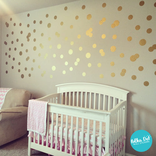 Metallic Gold Polka Dot Wall Decals Peel And Stick