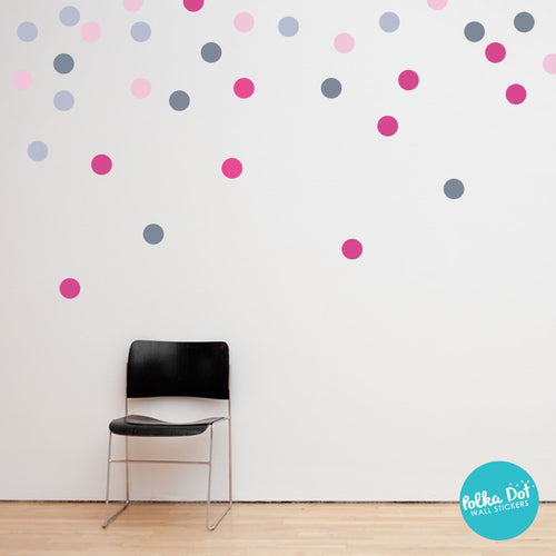 Pink and Gray Polka Dot Wall Decals