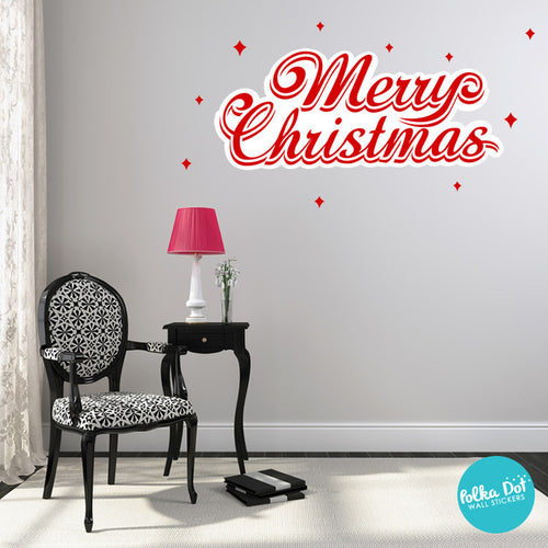 red merry christmas wall decal by polka dot wall stickers - Christmas Wall Decal