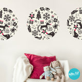 Creame and Dark Gray Christmas Hand Drawn Wall Decals by Polka Dot Wall Stickers