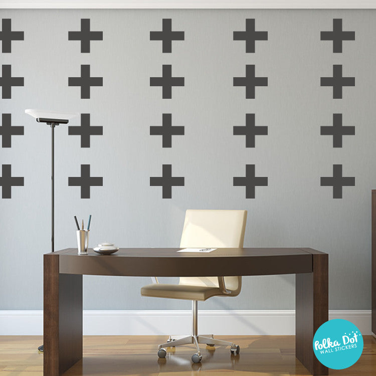 Plus sign wall decals by Polka Dot Wall Stickers