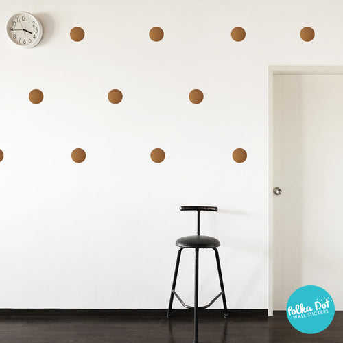Metallic Copper Polka Dot Wall Decals