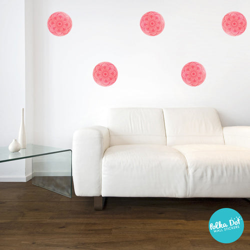 ... Coral Mandala Polka Dot Wall Decals Part 52