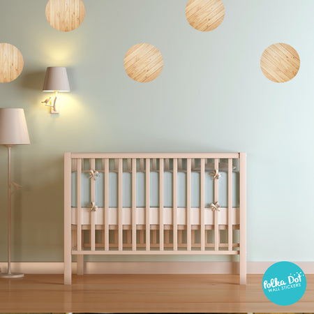 Light Brown Unfinished Wood Polka Dot Wall Stickers