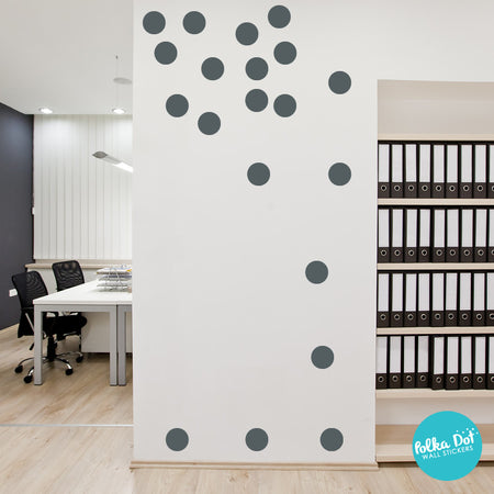 Dark Gray Polka Dot Wall Decals