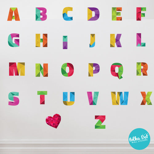Rainbow Polygonal Alphabet Wall Decals