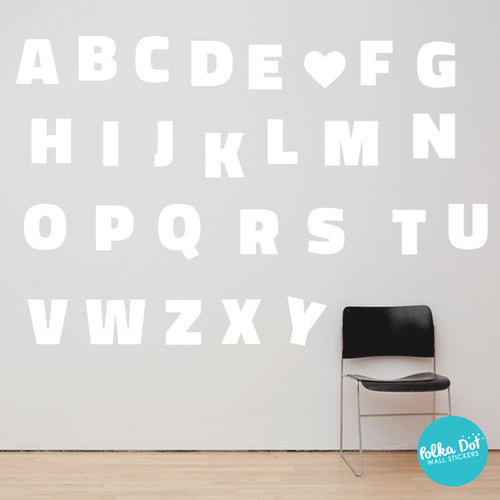 White Block Letter Alphabet Wall Decals