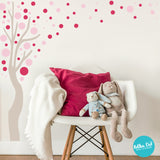 Long Tree Wall Decal with Polka Dot Leaves