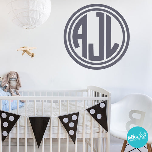 Fabulous 3 Letter Circle Monogram Wall Decal – Polka Dot Wall Stickers IX39