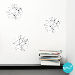 White Polygonal Polka Dot Wall Decals
