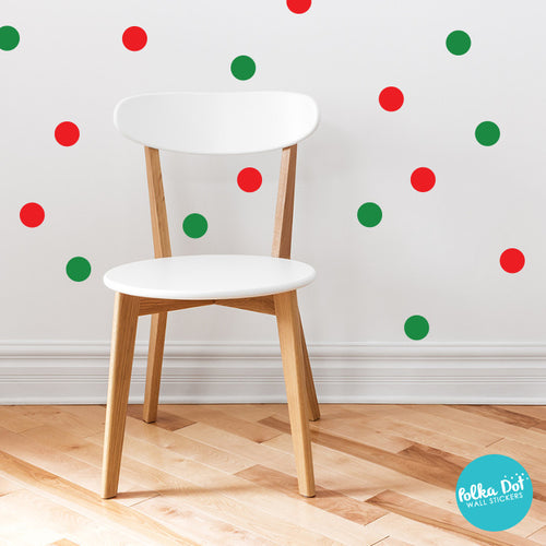 Red and Green Christmas Polka Dot Wall Decals by Polka Dot Wall Stickers