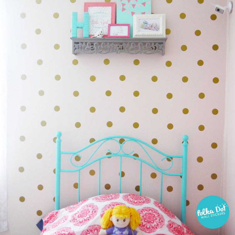 2 inch Gold Polka Dot Wall Decals by Polka Dot Wall Stickers