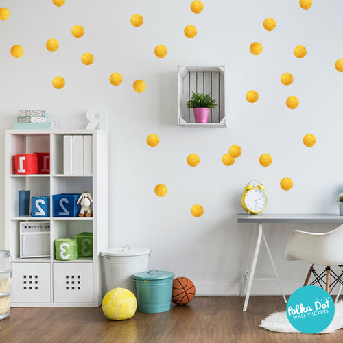 Raw Gold Print Polka Dot Wall Stickers