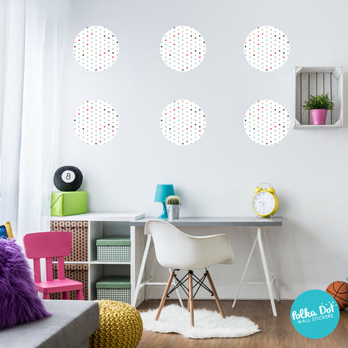 Mint, Gray, Pink and Gold Filled White Polka Dot Wall Decals