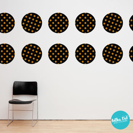 Gold Pattern Dots Within Black Polka Dots
