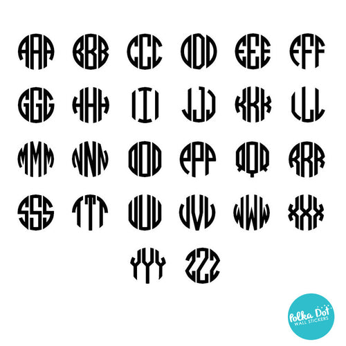 3 Letter Circle Monogram Wall Decal Polka Dot Wall Stickers