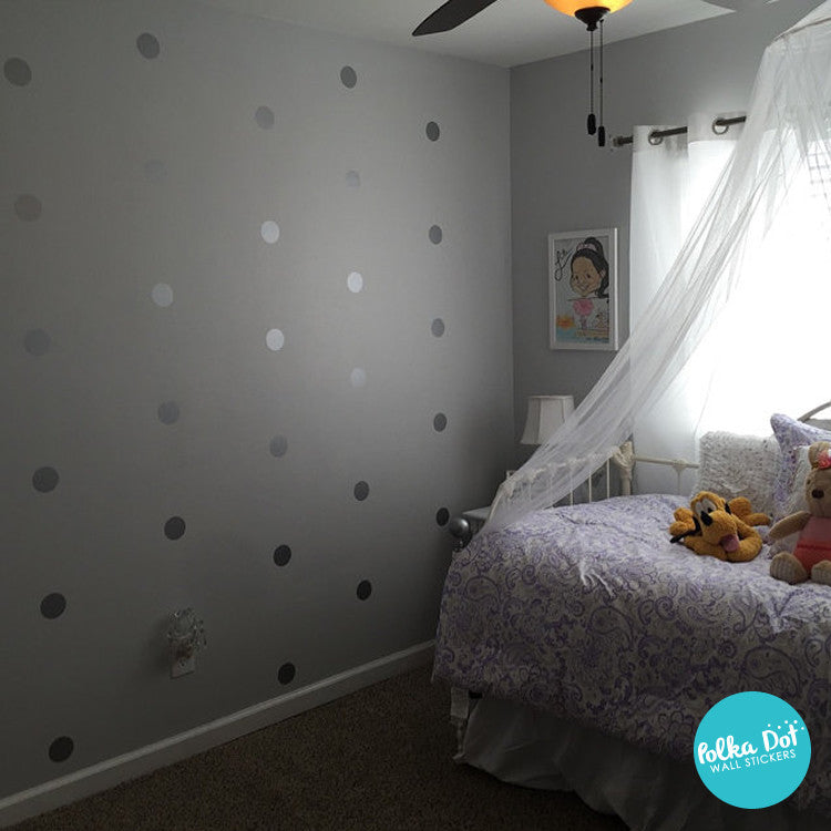 silver grey wall stickers by Polka Dot Wall Stickers