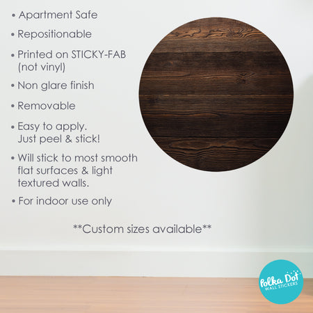 Dark Brown Wood Print Polka Dot Wall Stickers