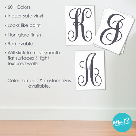 Curly Cursive Monogram Wall Decal