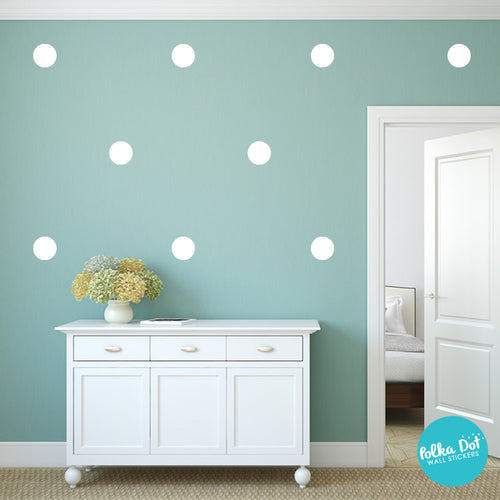 White Polka Dot Wall Decals