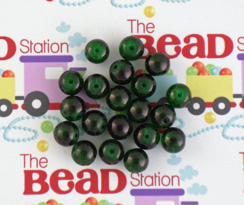 10mm Dark Green Crackle Beads